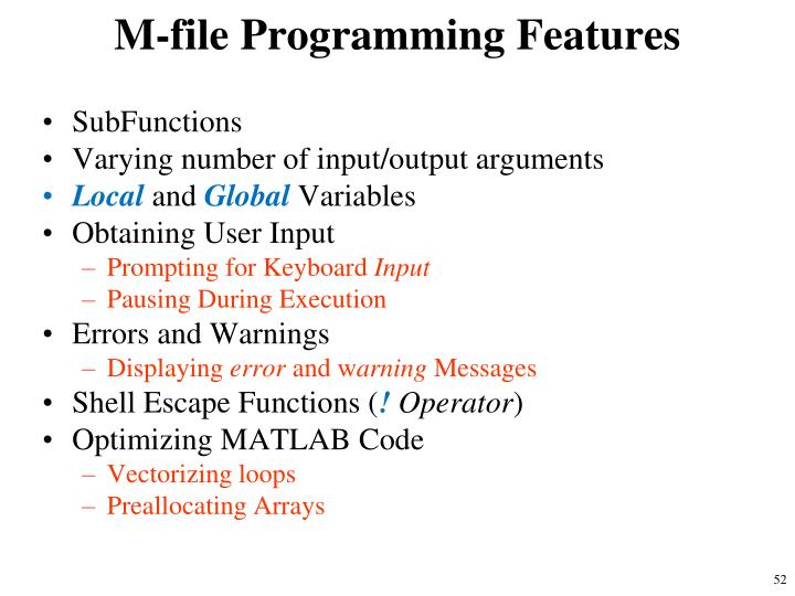 M-file Programming Features