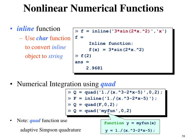 Nonlinear Numerical Functions