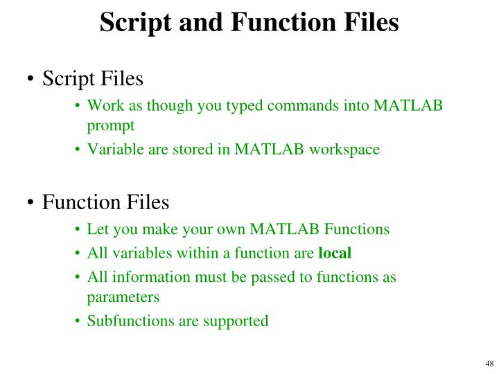 Script and Function Files