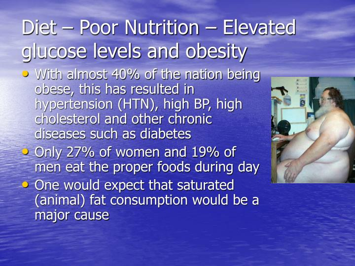 Diet – Poor Nutrition – Elevated glucose levels and obesity