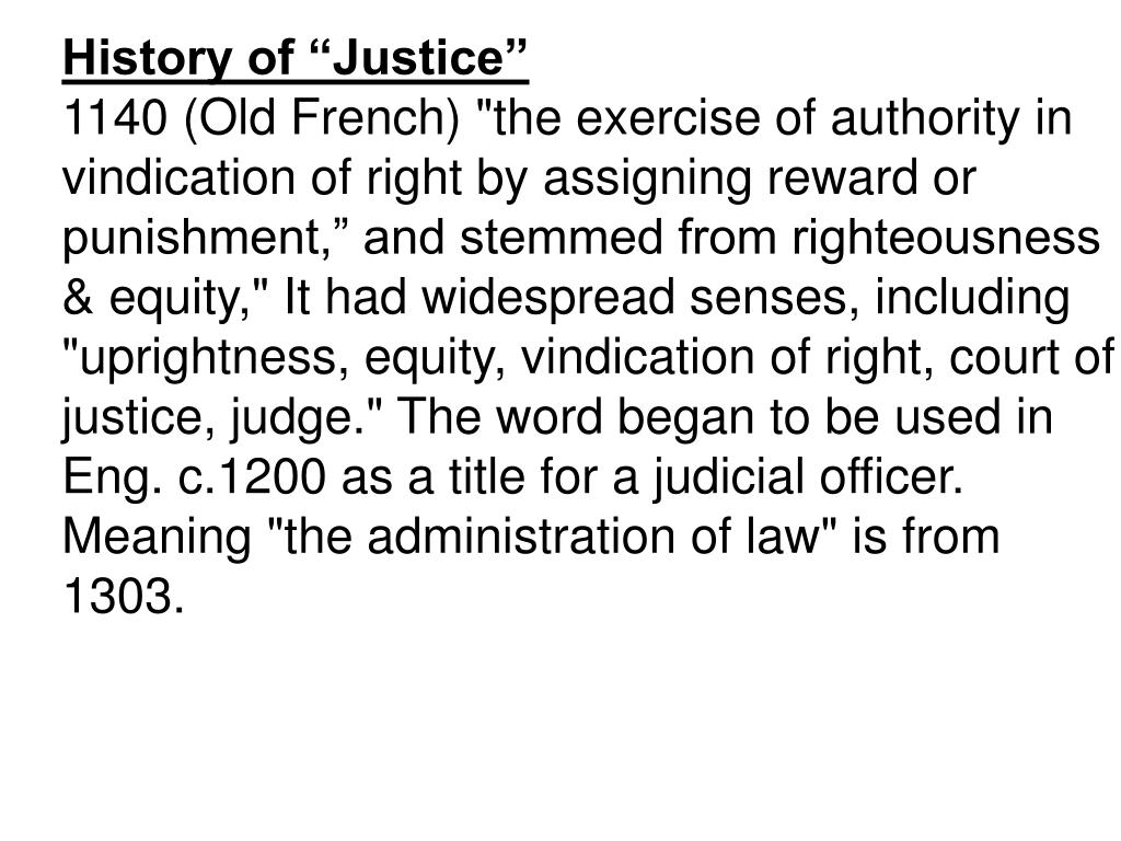 "History of ""Justice"""