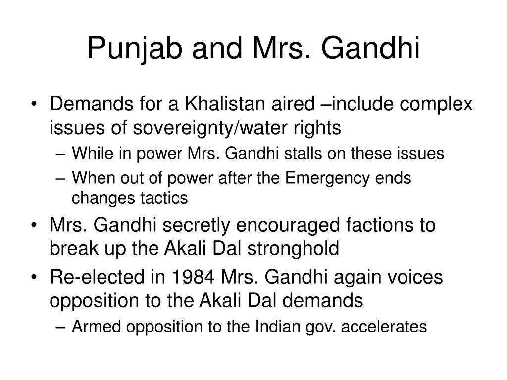 Punjab and Mrs. Gandhi