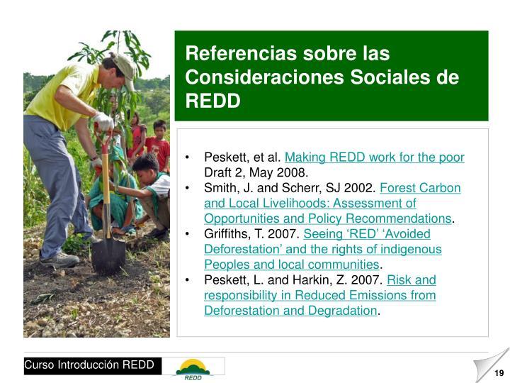 Referencias sobre las Consideraciones Sociales de REDD
