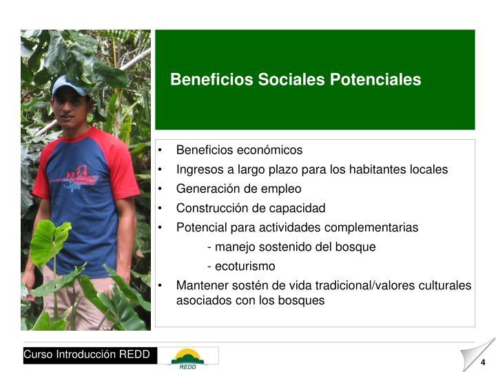 Beneficios Sociales Potenciales