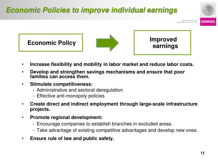 Economic Policies to improve individual earnings
