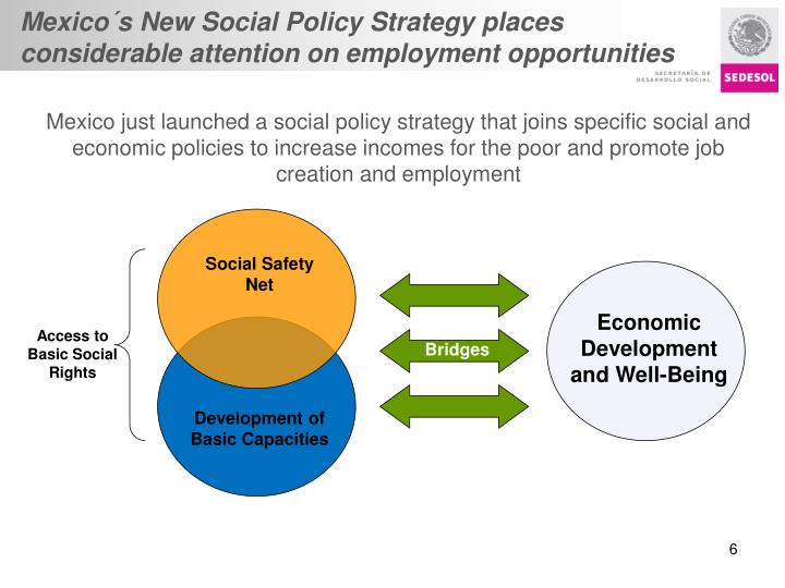 Mexico´s New Social Policy Strategy places considerable attention on employment opportunities