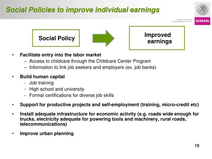 Social Policies to improve individual earnings