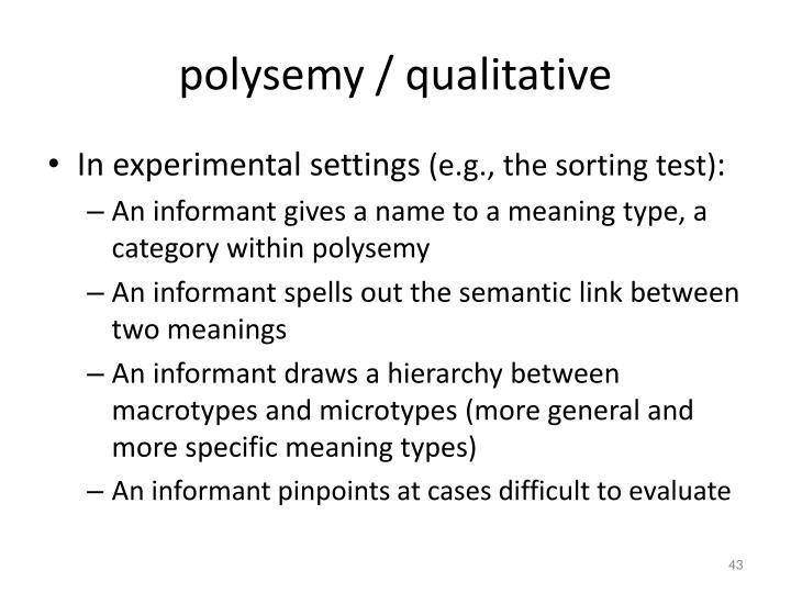 polysemy / qualitative