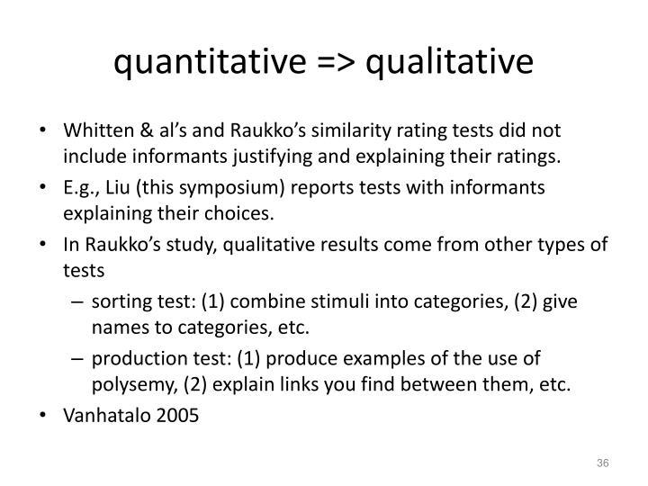 quantitative => qualitative