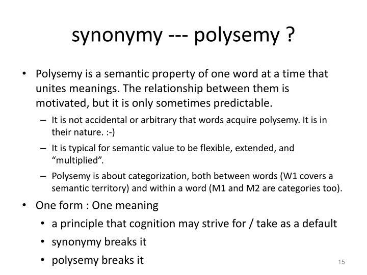 synonymy --- polysemy ?
