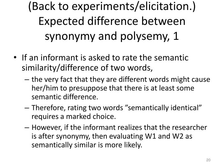 (Back to experiments/elicitation.) Expected difference between synonymy and polysemy, 1