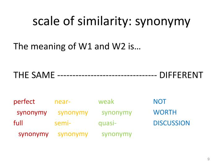 scale of similarity: synonymy