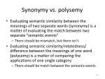 synonymy vs polysemy