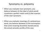 synonymy vs polysemy1