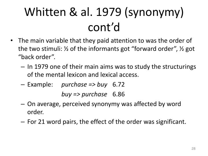 Whitten & al. 1979 (synonymy) cont'd