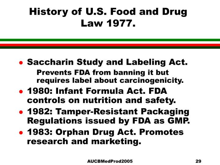 the food drug law in the us Research misconduct identified by the us food and drug administration  significant dates in us food and drug law history retrieved from https: .