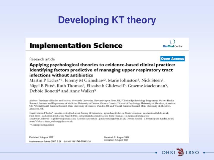 Developing KT theory
