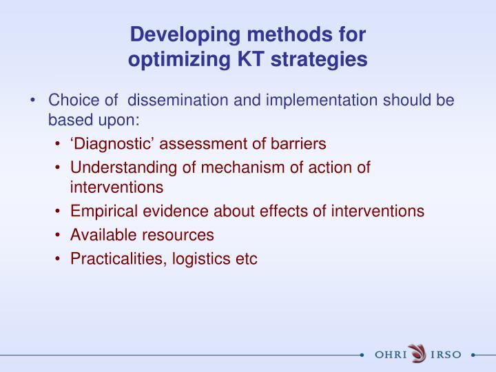 Developing methods for