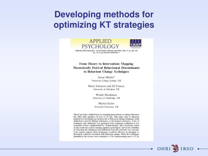 Developing methods for