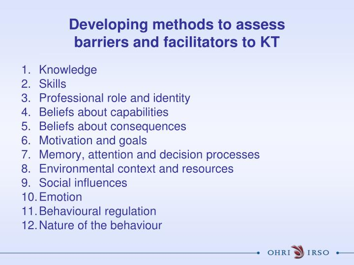 Developing methods to assess