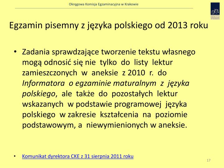 Egzamin pisemny z języka polskiego od 2013 roku
