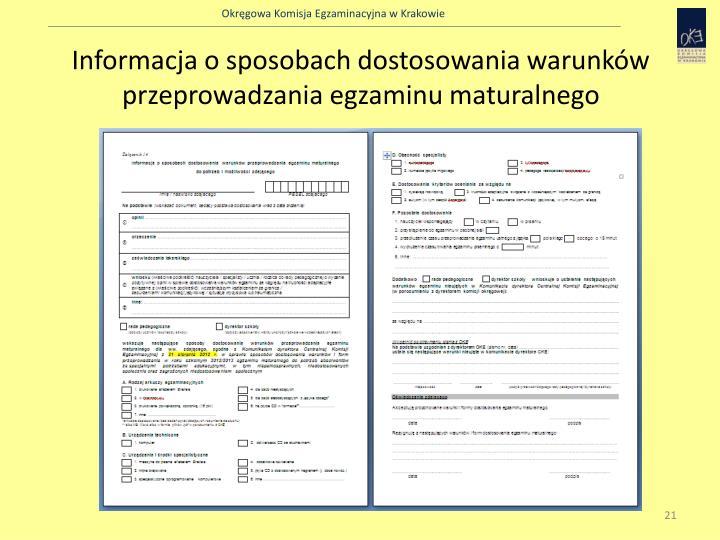 Informacja o sposobach dostosowania warunków przeprowadzania egzaminu maturalnego