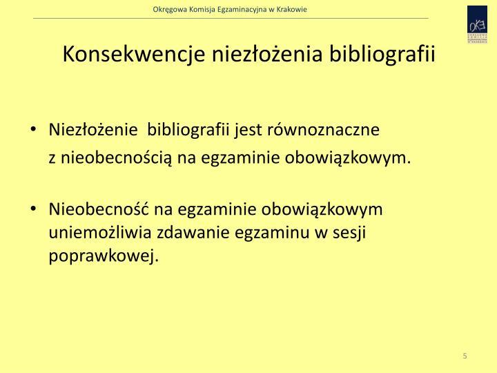 Konsekwencje niezłożenia bibliografii