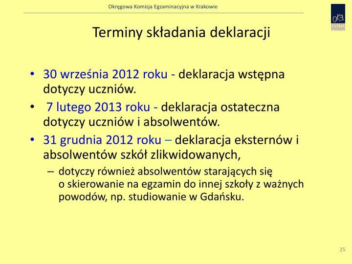 Terminy składania deklaracji