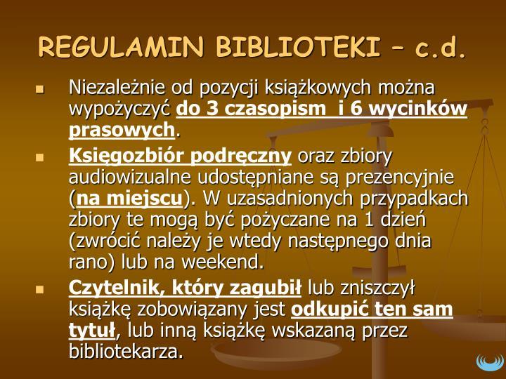 REGULAMIN BIBLIOTEKI – c.d.