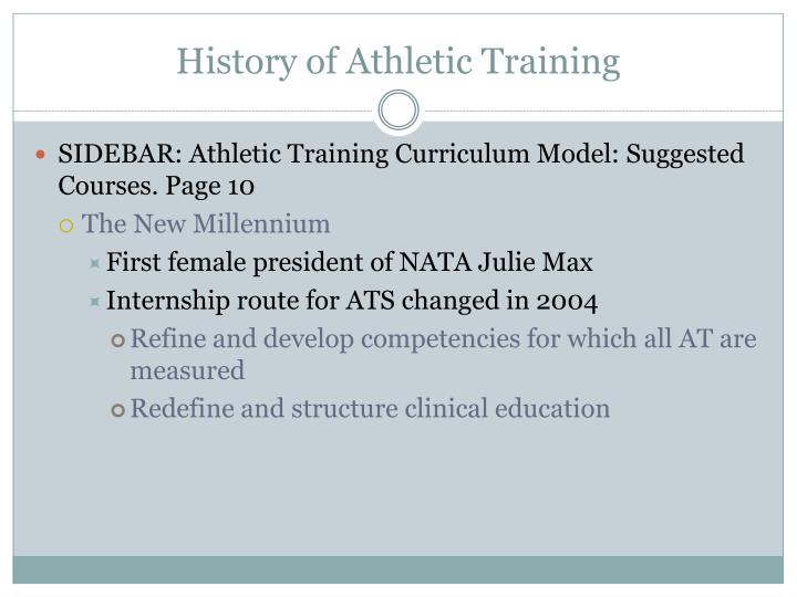History of Athletic Training