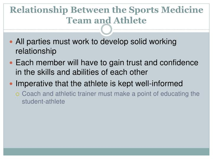 Relationship Between the Sports Medicine Team and Athlete
