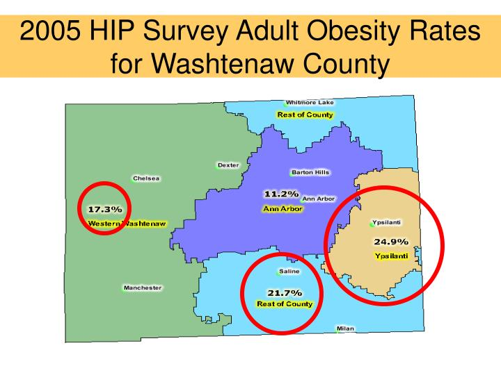 2005 HIP Survey Adult Obesity Rates for Washtenaw County