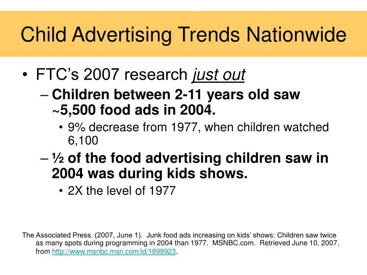 Child Advertising Trends Nationwide