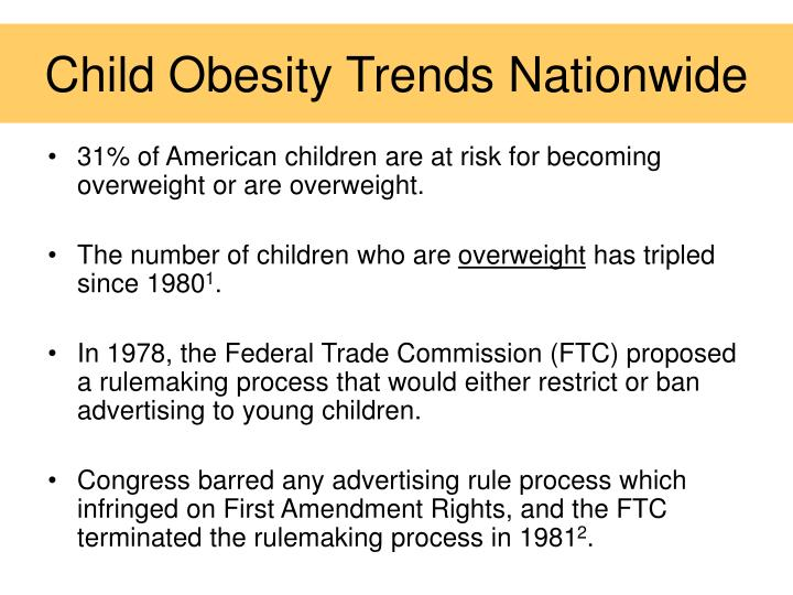 Child obesity trends nationwide