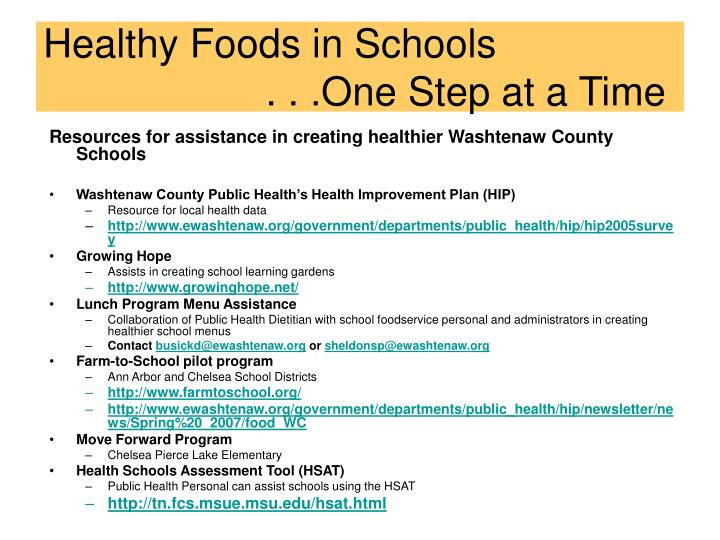 Resources for assistance in creating healthier Washtenaw County Schools