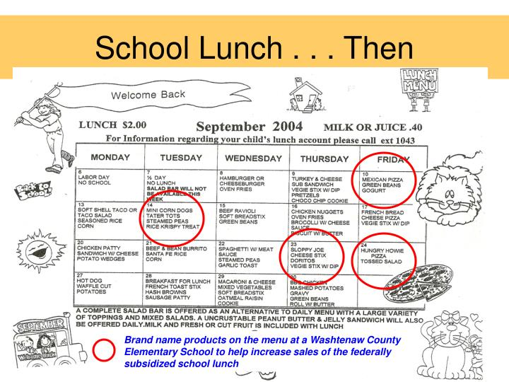 School Lunch . . . Then