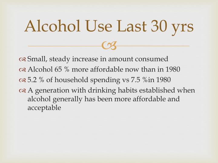 Alcohol Use Last 30 yrs