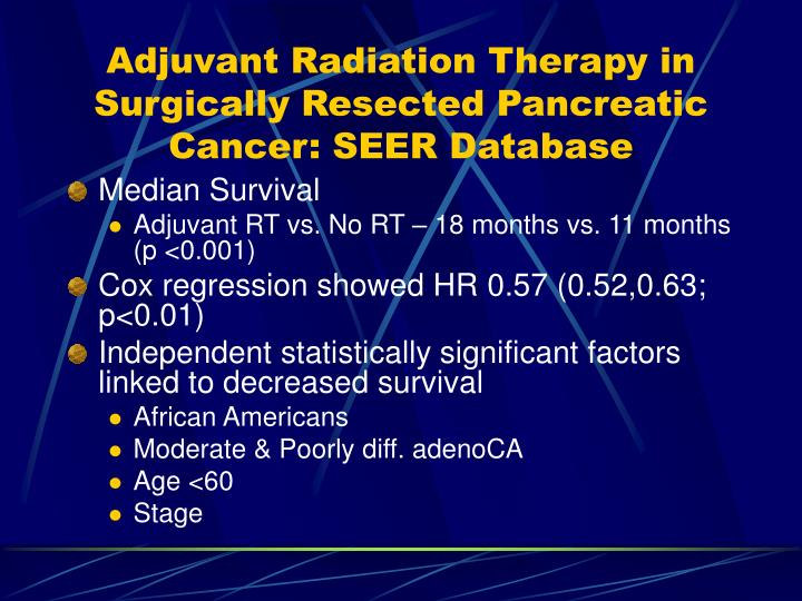 Adjuvant Radiation Therapy in Surgically Resected Pancreatic Cancer: SEER Database