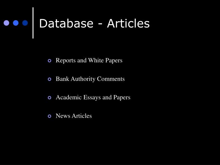 Database - Articles