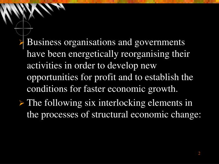 Business organisations and governments have been energetically reorganising their activities in orde...