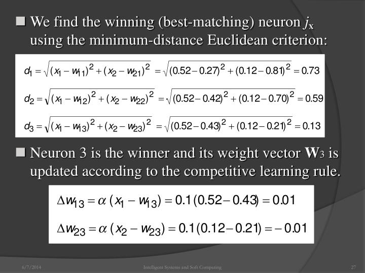 We find the winning (best-matching) neuron
