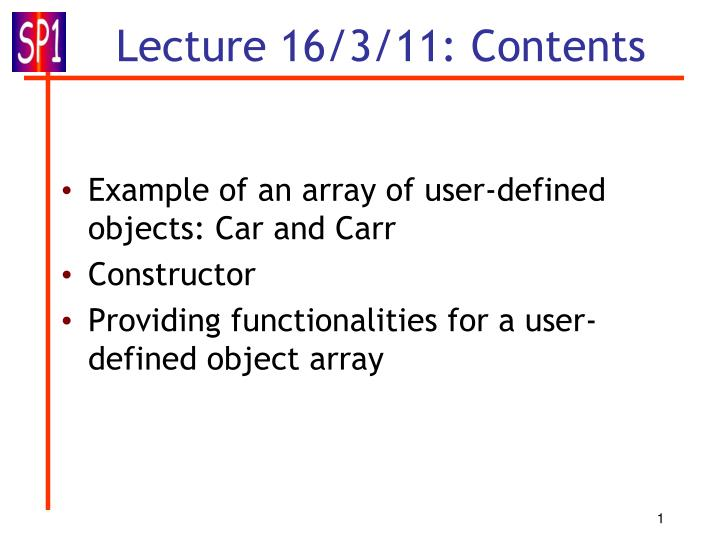 Lecture 16 3 11 contents