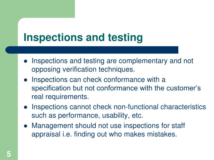 Inspections and testing