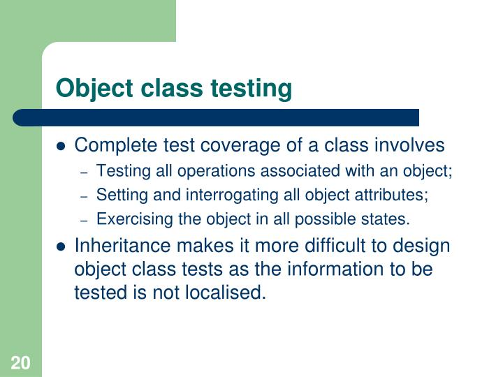 Object class testing