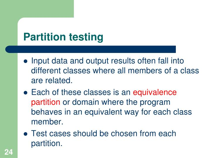 Partition testing