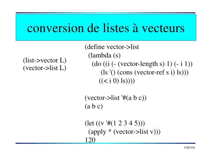 conversion de listes à vecteurs