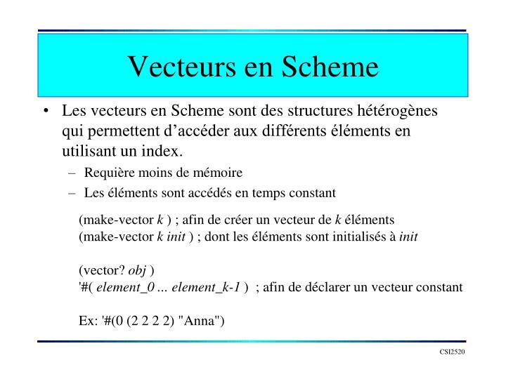 Vecteurs en Scheme