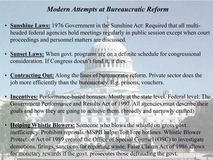 Modern Attempts at Bureaucratic Reform