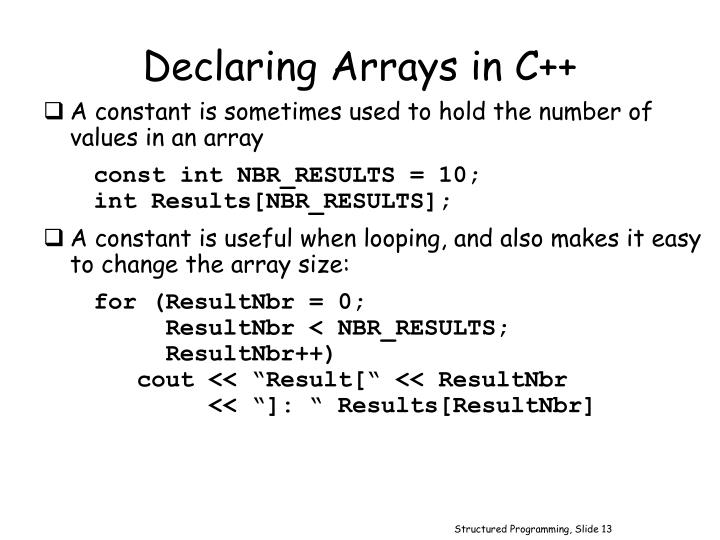 Declaring Arrays in C++