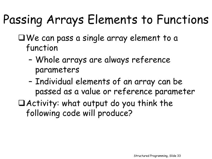 Passing Arrays Elements to Functions